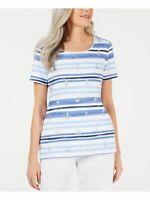 Karen Scott Women's Blue Striped Anchor Glitter Knit Top Size M NEW