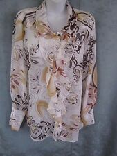 Essentials by ABS Sheer Blouse Size 12 Ruffled High Energy Print Top