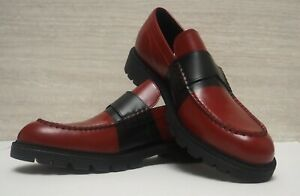 Calvin Klein Oxblood Black Leathers Penny Loafer Shoes Mens Size 44 £160