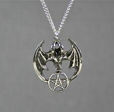 Gothic Goth Pentagram Vampire Bat Pendant Necklace