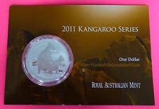 2011 AUSTRALIA KANGAROO   $1 ONE DOLLAR SILVER   1oz  COIN WITH MINT CARD