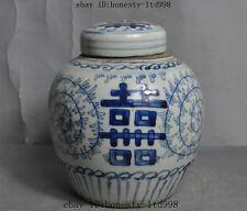 "6"" Lucky Old China Blue&White Porcelain Glaze Auspicious ""囍"" Tank Crock Pot Jar"