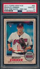 BRADLEY ZIMMER 2017 TOPPS HERITAGE REAL ONE RED INK AUTOGRAPH AUTO RC /68 PSA 10