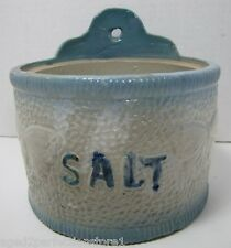 Antique Butterfly Salt Stoneware Crock blue white decorated butterfies glaze old