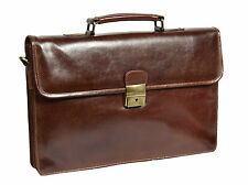 Mens Real Leather Briefcase Brown Slim Smart Office Executive Shoulder Satchel