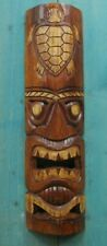 "TIKI MASK TURTLE 20"" WOOD HAWAIIAN ISLAND HOME WALL DECOR TRIBAL POLYNESIAN"