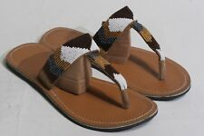 Women's African Hand Made Beaded Leather Sandals Flip Flops size 40 US 9 #187