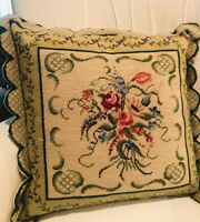 """Vintage Needlepoint Floral Pillow Cover Aubusson Scalloped Edges Large 23X23"""""""