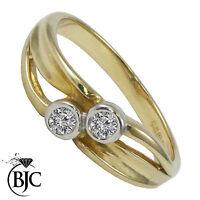 Bjc 9Ct Oro Amarillo Diamante 0.20ct Vestido TALLA M Compromiso Anillo de R71