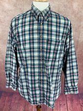 Pendleton 100% Cotton Button Down Long Sleeve Shirt Blue Green Red Plaid Men's M
