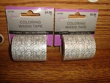 #2 two Rolls Coloring Washi Tape Flower design Decorating-Crafts & More New