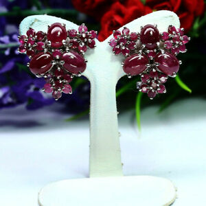 NATURAL RED RUBY EARRIGNS 925 STERLING SILVER WHITE GOLD PLATED
