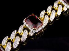 Men's Yellow Gold Finish Ruby Simulated Diamound Gem Stone Cuban Bracelet