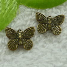 Free Ship 140 pcs bronze plated butterfly charms 19x14mm #2557