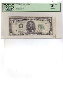 1950-B $5 ERROR Federal Reserve Note Graded PCGS ExFine 40 Dog Ear cutting ERROR