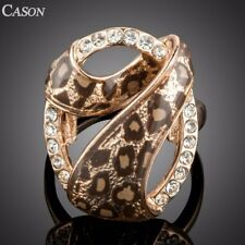 Women Gold/Pink Leopard Austrian Crystal Ring Rose Gold Jewelry Christmas Gift