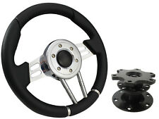 QUICK RELEASE BLACK V2 SPORTS STEERING WHEEL 310mm 6x70mm,