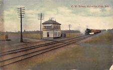 Columbia City Indiana~Vandale CU CW Interlocking Tower~Train~RR Tracks~1911 PC