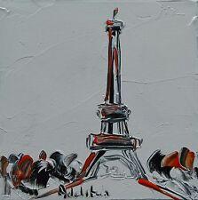 tableau original contemporain peinture Tour Eiffel white PARIS