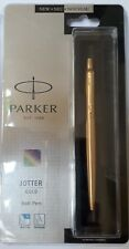 Parker Jotter GOLD GT Ball Point Pen Gold Trim Blue Ink Stainless Steel Body NEW