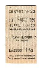 BIGLIETTO TICKET EDMONSON   supp. rapido    NAPOLI  ROMA  28-4-1981