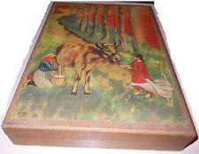 Ancien coffret de jeu de cube en bois N.K ATLAS Paris. Grand format 35 cubes