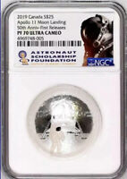 2019 $25 CANADA APOLLO 11 NGC PF70 SILVER PROOF 50TH ANNIV FIRST RELEASES