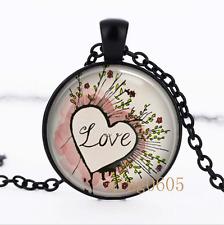 Valentine's Day . Love photo Glass Dome black Chain Pendant Necklace wholesale