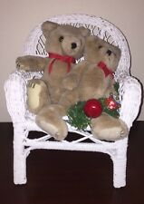 """Vintage 13"""" Tall White Wicker Rattan Rocking Chair with Christmas Bears"""
