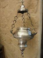 Ancien Lustre Pendule encensoir d'église en métal argenté  bronze XIX ème Ange
