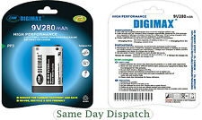 4X DIGIMAX 9V 280mAh Ni-MH Rechargeable Battery PP3 - Free P&P High Quality New
