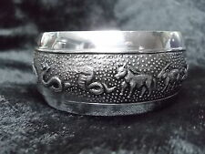 BRACELET CUFF BANGLE 12 ANIMAL ZODIAC CARVED HILL TRIBE ETHNIC SILVER ALUMINUM