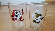 Set of 2 USSR Soviet Children drinking glasses Christmas