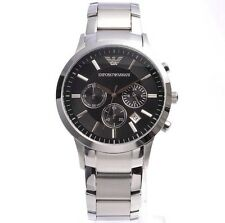 NEW EMPORIO ARMANI AR2434 BLACK DIAL STAINLESS STEEL MEN'S WATCH SALE!!!