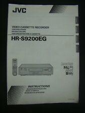 Bedienungsanleitung Videorecorder JVC HR-S9200EG Mode d'emploi, Instructions