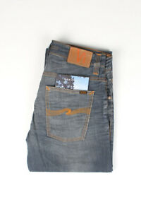 32443 Nudie Jeans Average Joe Clean Steel Grisâtre Bleu Hommes Jean Taille 33/32