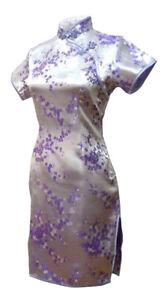 UK Lilac Purple Cherry Blossom Chinese Short Evening Party Dress Qipao Cheongsam