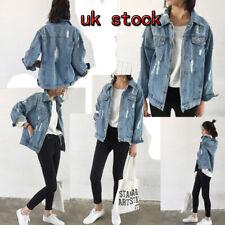 Women Ladys Faded Ripped Oversized Denim Jacket Slim Jeans Coat NEW UK STOCK