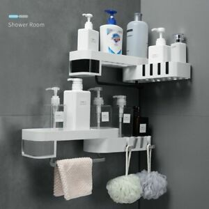 Corner Shower Shelf Bathroom Holder Kitchen Storage Rack Organizer Wall Mounted