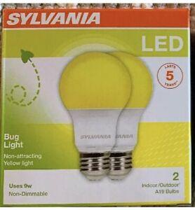 Sylvania 2-pk Yellow LED Bug Light Bulb 60w Equivalent (9w) A19 Indoor/Outdoor