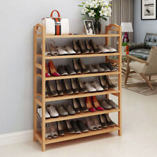 6 Tiers Wood Bamboo Shelf Entryway Storage Shoe Rack Organizer Home Furniture