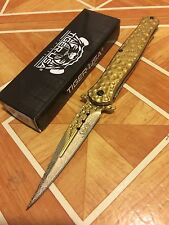"9"" STILETTO Gold Surgical Steel Blade Spring  ASSISTED Pocket Knife"