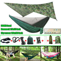 Outdoor Hammock Canopy Sun Rain Fly Tarp and Camping Hammock with Mosquito Net