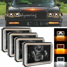 """4x 4x6"""" LED Headlight High Low Angel Eye with DRL for Chevy C10 C20 C30 Camaro"""