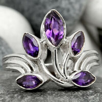 Natural African Amethyst 925 Sterling Silver Ring Jewelry s.7.5 SDR90676