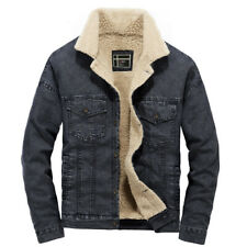 Fashion Winter Men's Warm Fur Collar Fleece Jean Jacket Lined Casual Denim Coat