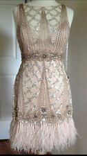 SUE WONG 1920's Champagne Beaded Sequin Feather Evening Bridal Wedding Dress 12