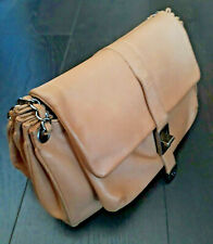 VINTAGE CHANEL Turn Lock Tan in Pelle MADE IN ITALY Borsa a tracolla
