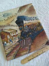 "Vintage Cotton, Novelty Scenic Border Print w/ Train, 2 yards, 16"" x 36"" WOF"