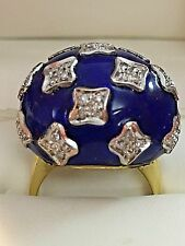 Vintage 18k Two Tone Gold Diamond Blue Enamel Dome Ring